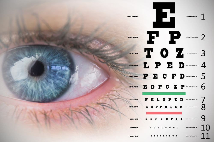 Close up of female blue eye against eye test