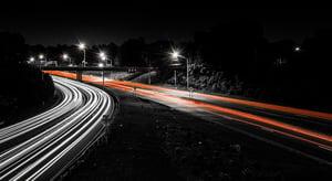 Highway at night in Charlotte, North Carolina.